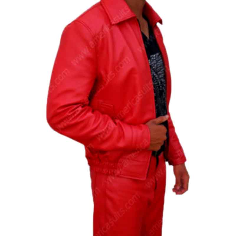 Red Eddie Murphy Classic Raw Leather Jacket