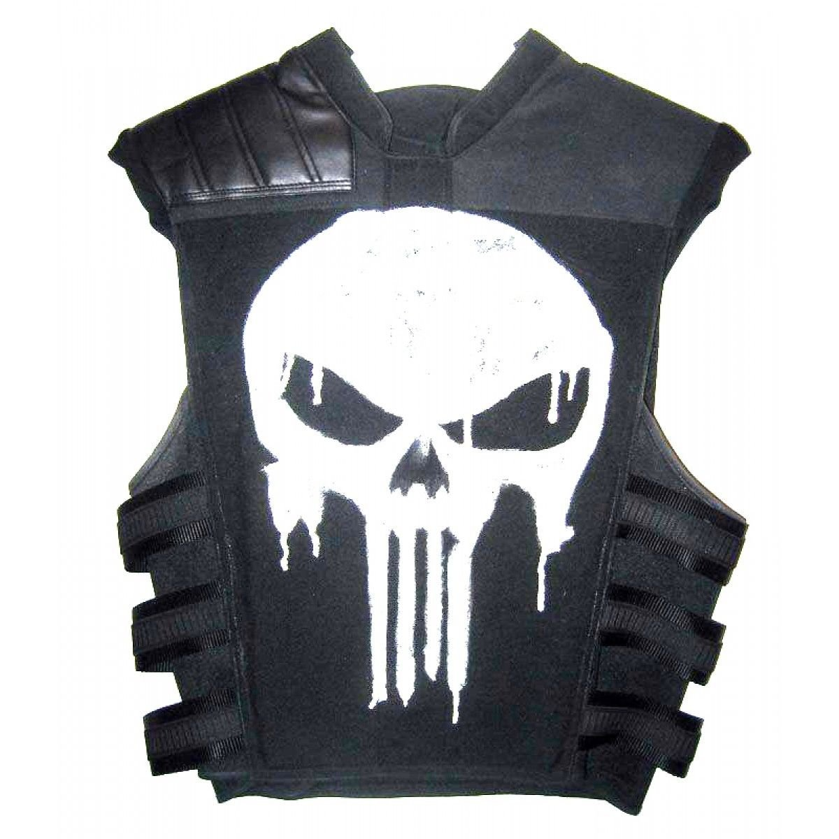 The Punisher Black Biker Leather Vest