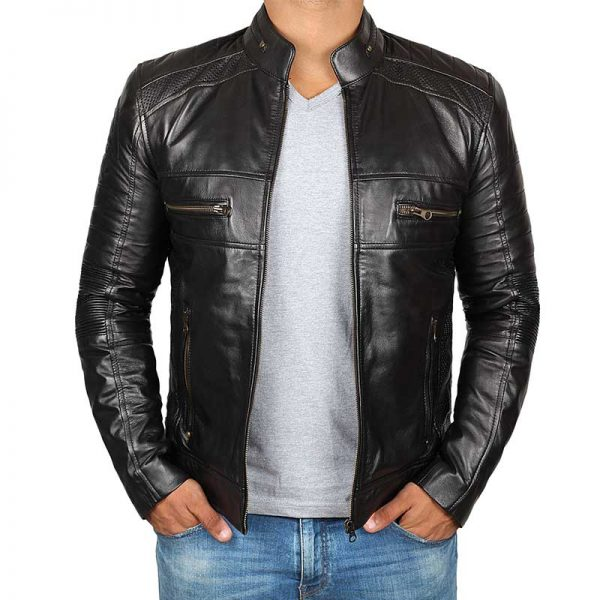Black Lambskin Cafe Racer Leather Jacket