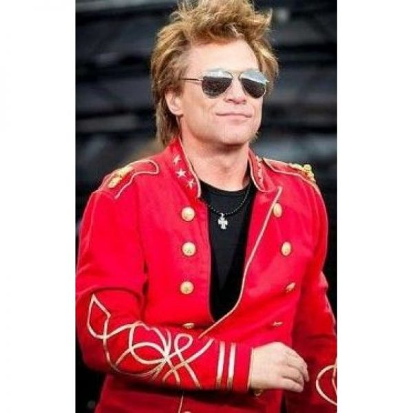 Jon Bon Jovi Red Velvet Leather Jacket