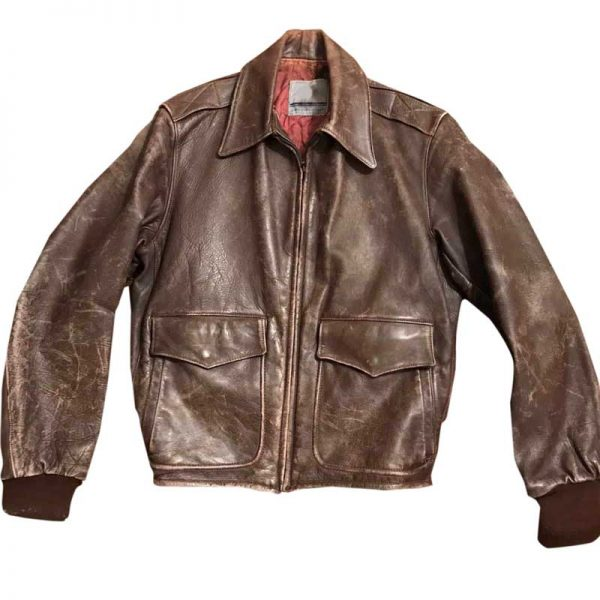 Thompson Brown Distressed 1950s Leather Bomber Jacket