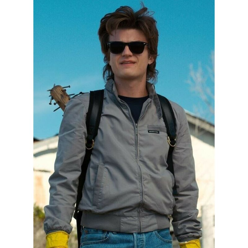 Stranger Things Steve Harrington Grey Bomber Jacket