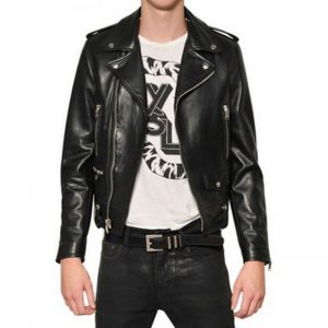 Adam Levine Black Leather Biker Jacket