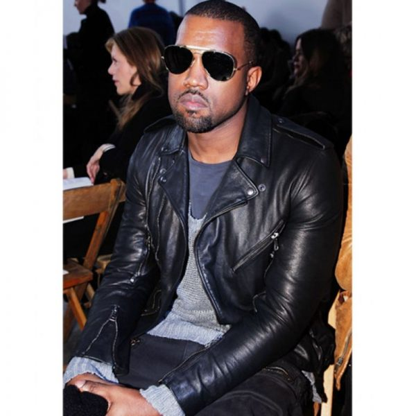 Black Kanye West Biker Leather Jacket