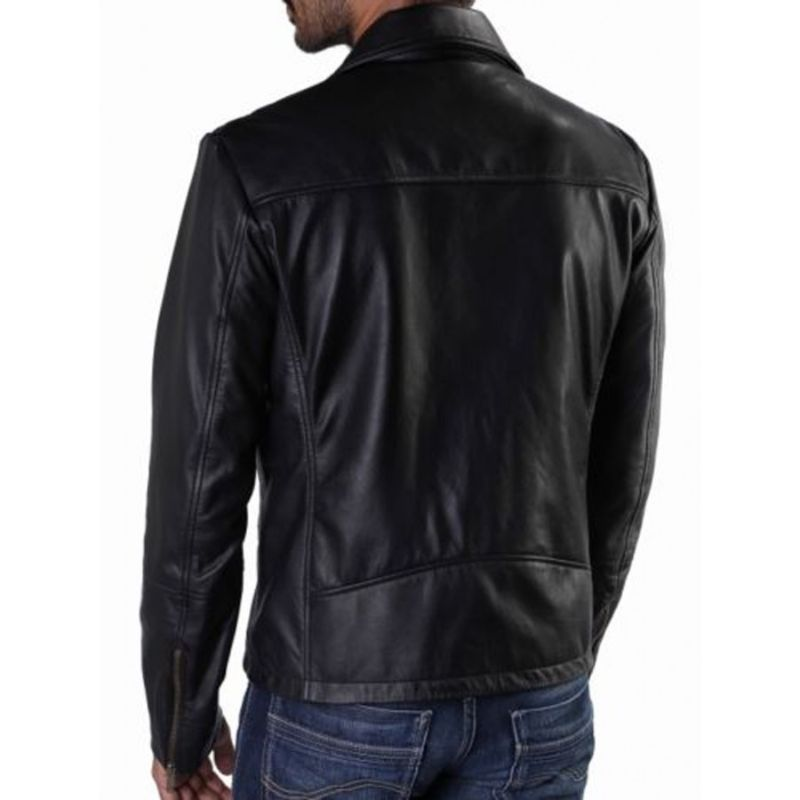 Quilted Black Diamond Style Leather Jacket.