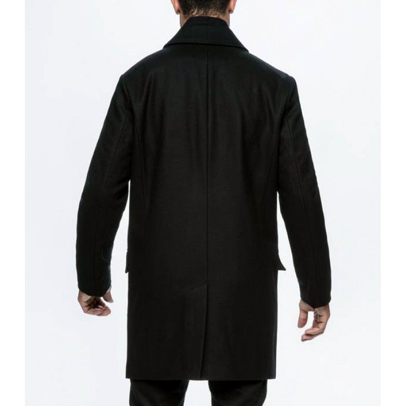 Ryan Black Wool Hitman Bodyguard Trench Coat