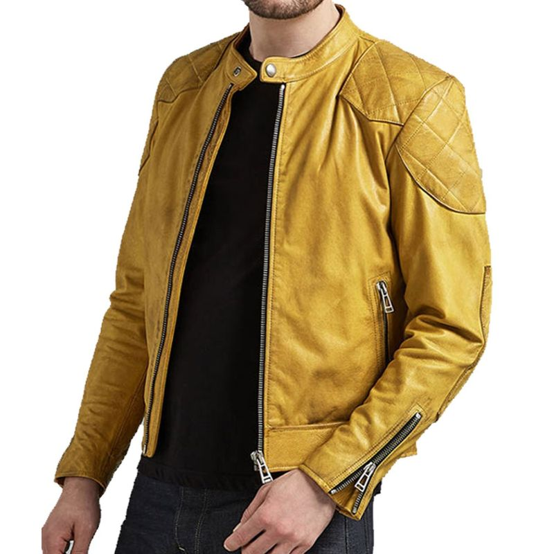 Mens Yellow Café Racer Leather Jacket