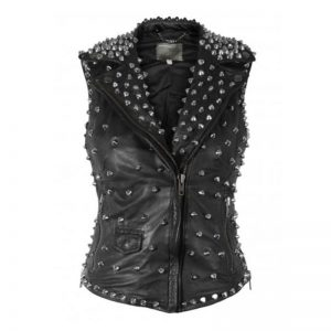 Women Silver Studded Black Vest