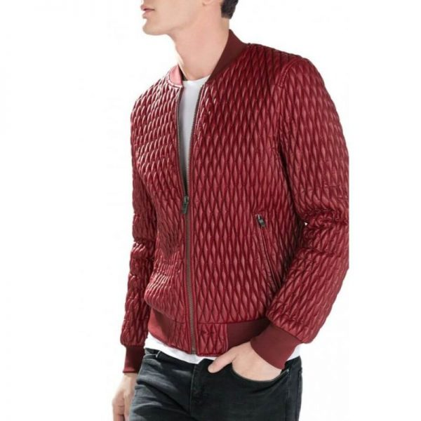 Men's Quilted Faux Leather Jacket