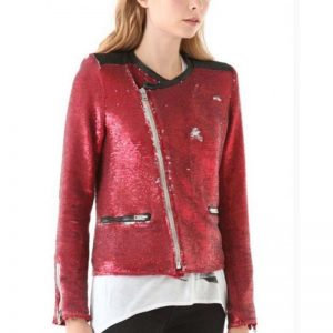 Taylor Swift Red Sequin Moto Jacket